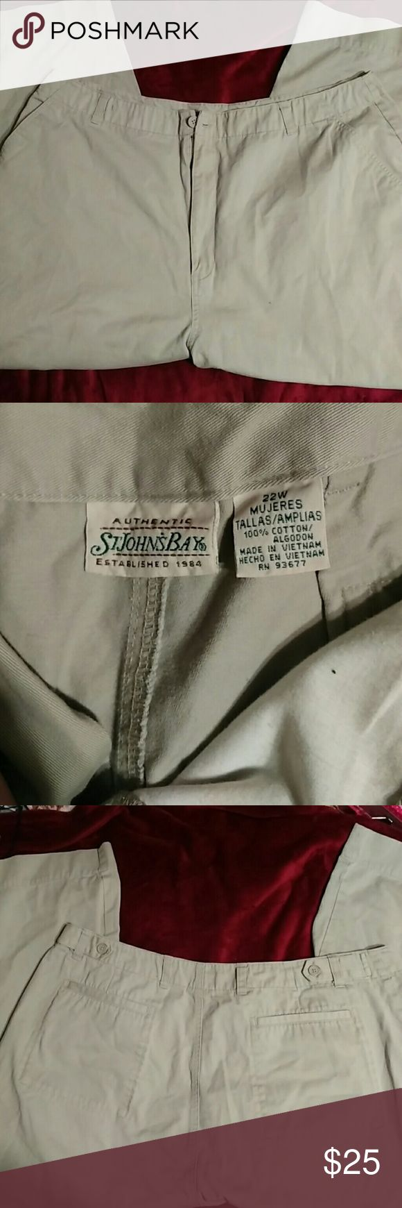 Plus size st johns bay 24 w khaki capri pants Great condition I'm not sure if these even been warn  no piling in between legs no rips no tares washed YES but its very clean new thick material these are wide leg i believe like a Capri style  these are perfect khaki tan Color please look at measurements below   Waist measurements 20 inches flat  Inseam crotch to hem 24 inches   St.johns bay size 24W St. John's Bay Jeans Ankle & Cropped