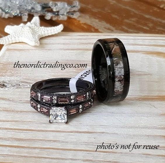 Camouflage Wedding Ring Set Men's Band 7-14 Engagement Ring Wedding Band Women's 5-11 Couples Camo Rings