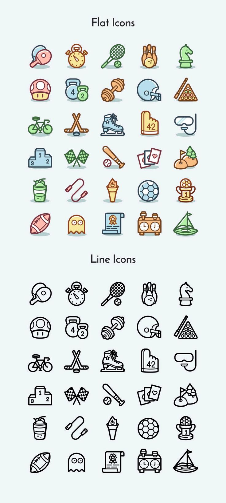 A set of 30 sports and games icons coming in two design styles and various vector and ready-to-use PNG formats.