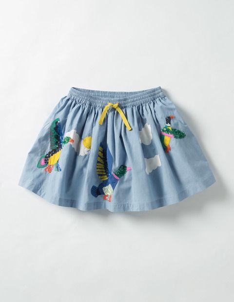 Adventure Sequin Skirt (Wren Blue Flying Ducks)