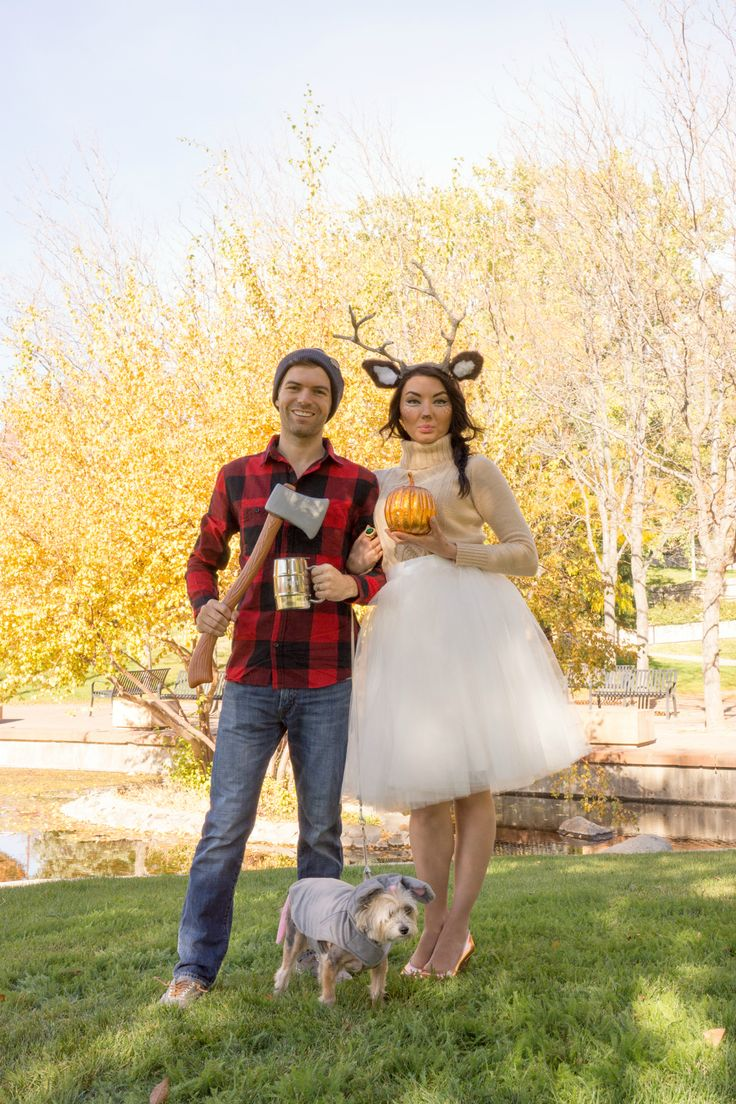 Woodland deer and lumberjack couples costume