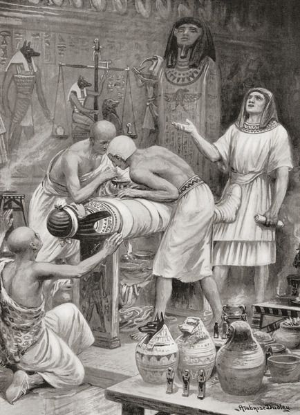 Embalming a body in ancient Egypt. This was done by removing organs, ridding the body of moisture, and covering the body with natron. From Hutchinson's History of the Nations, published 1915.