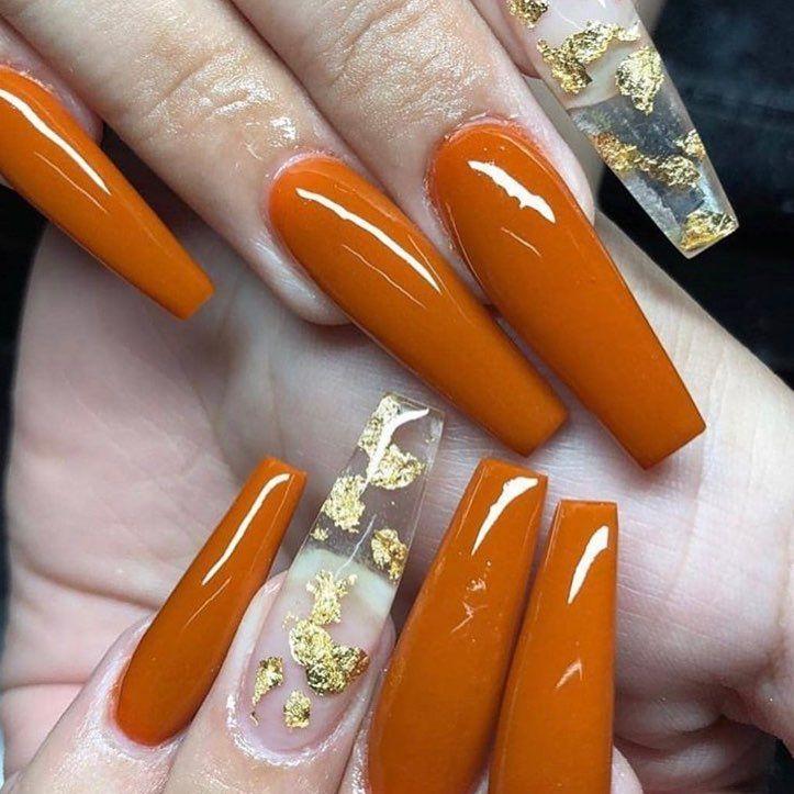 Pumpkin Spice Nails Fall Acrylic Nails Orange Nails Pretty Acrylic Nails