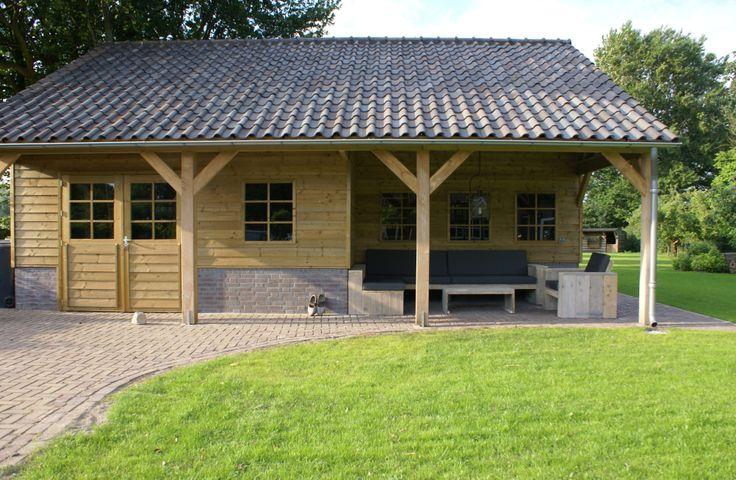 Tuinhuis Linge inclusief veranda gemaakt op speciale afmetingen