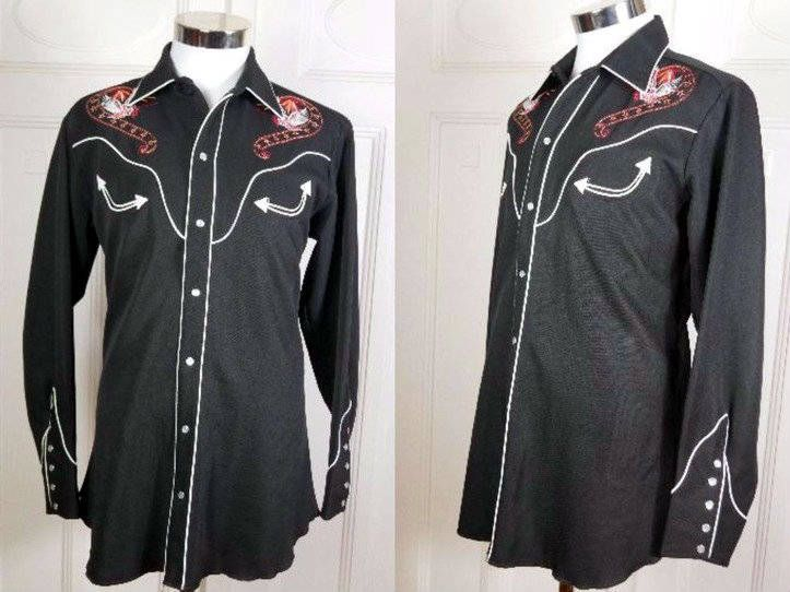 American Vintage Rockabilly Shirt, Black White Embroidered Bald Eagle Western Cowboy Shirt, Rock and Roll Pearl Snap Shirt: Size XL (US/UK) by YouLookAmazing on Etsy