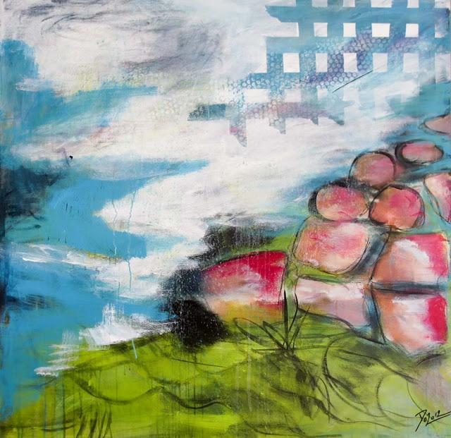 Doo it - just doo it: Kvinder og pensler i sving (Pink, acrylics and crayons, 100 x 100 cm)