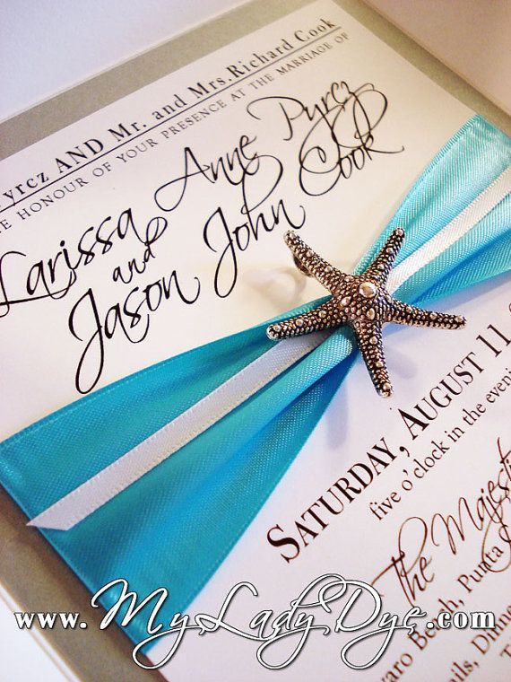 Superior Starfish Wedding Invitation Embellished Petalfold By MyLadyDye, $12.99