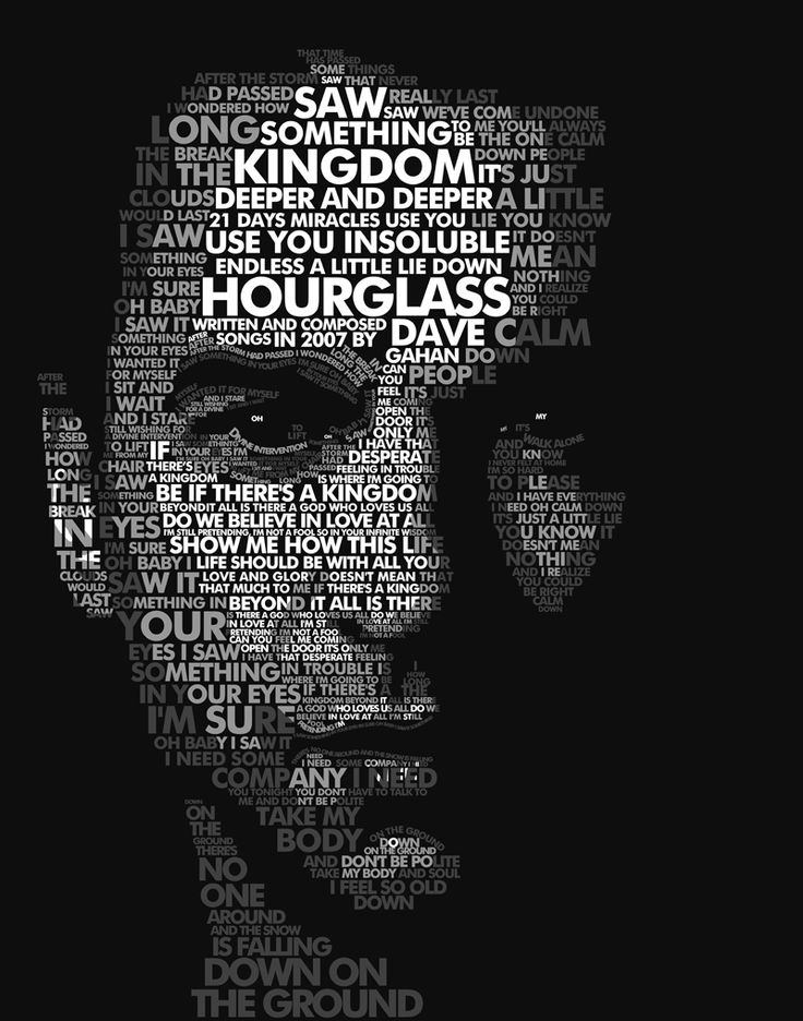Typography portrait Dave Gahan, lead singer of Depeche Mode