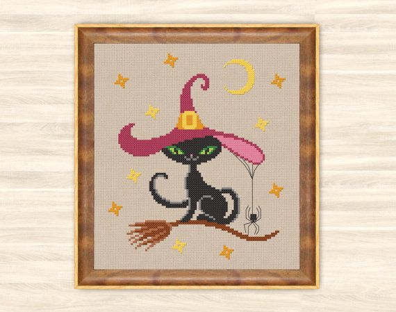 Cat Halloween Cross Stitch Pattern cat witch by TimeForStitch