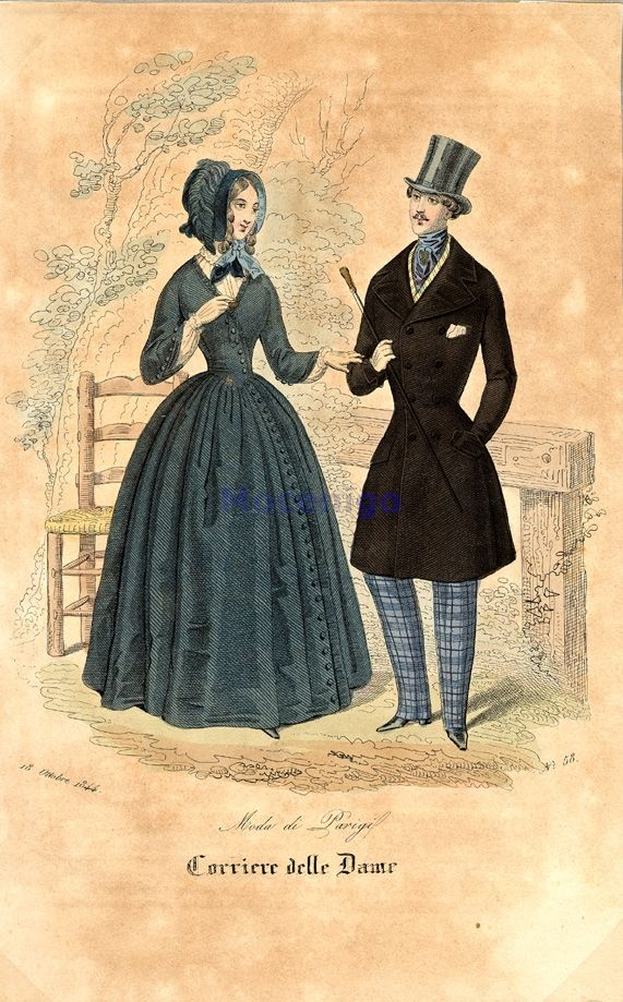 Outdoor dress for men and women, 1844 Italy, Corriere delle Dame