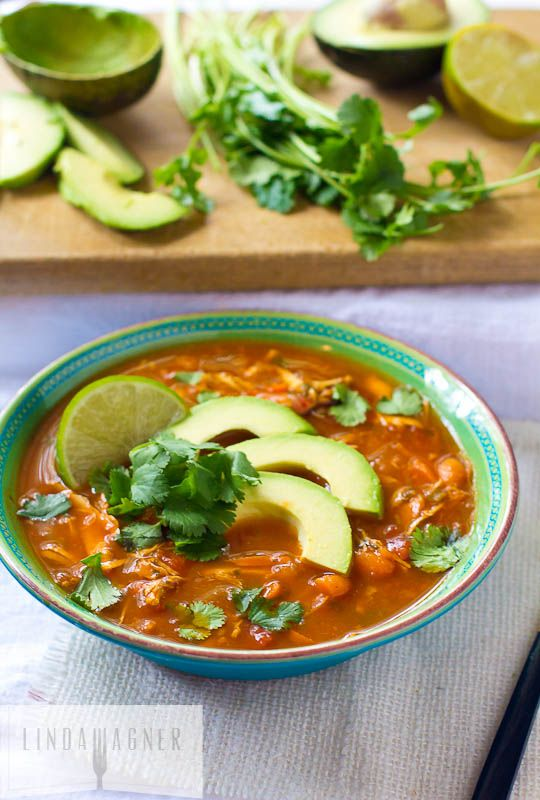 Paleo Chicken Tortilla Soup via Linda Wagner - Healthy eating is so much fun when you can eat amazing dishes like this one!!