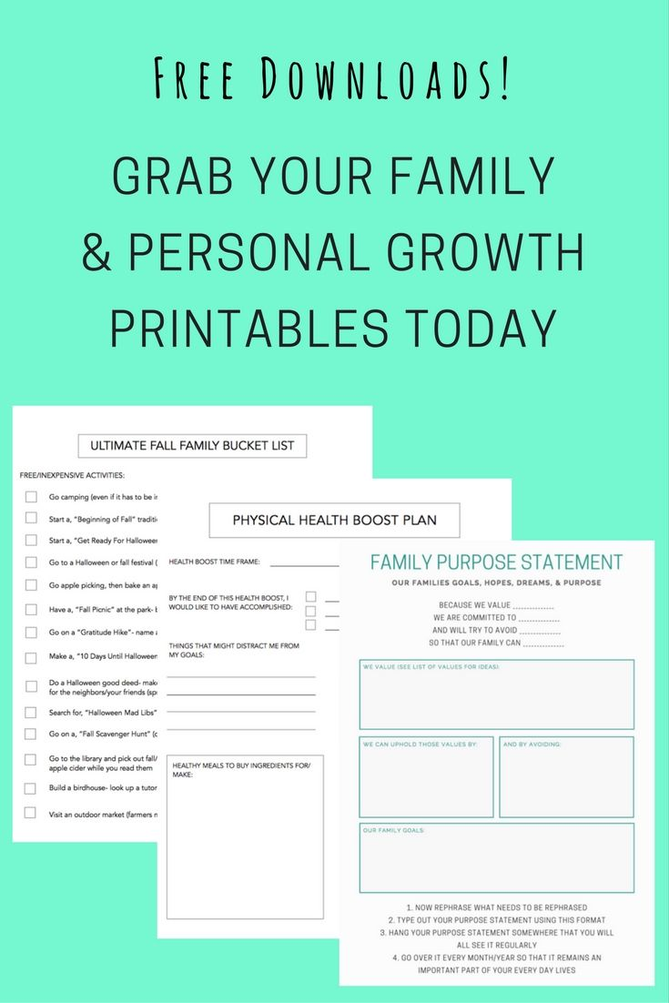 Free downloads- grab your family & personal growth printable today!
