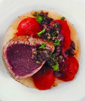 ... Recipe: Pan-Seared Tuna with Olive Vinaigrette and Roasted Tomatoes