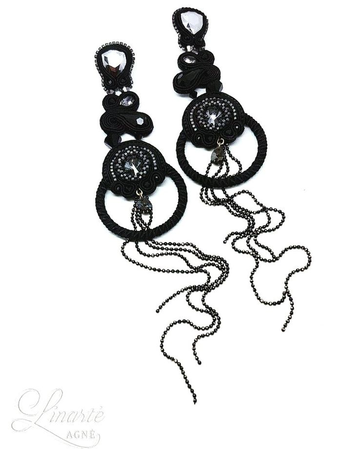 Agne Linarte jewelry & accessories, earrings embellished with crystals from Swarovski and Delica seed beads.