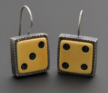 "Kristi Zevenbergen: , Dice earrings in sterling silver and vintage Bakelite. 1.25"" in length"