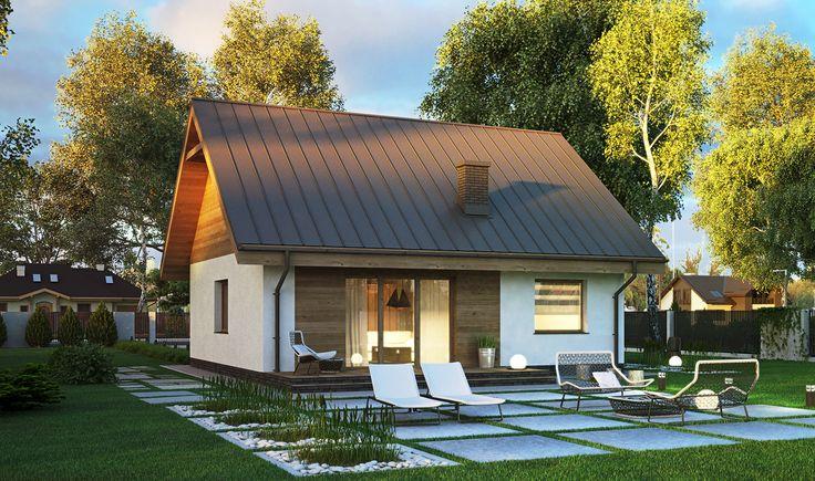 """""""Miarodajny"""" Murator C333 - mały, sympatyczny dom za niewielkie pieniądze. Dodatkowo ma tylko 10,5 m szerokości, dlatego sprawdzi się nawet na bardzo wąskiej działce. Wnętrze o powierzchni niecałych 64 m kw. zaspokoi potrzeby dwojga osób, ale w razie potrzeby można również zaadaptować poddasze o powierzchni 45,5 mkw. – jest to zatem idealny projekt dla młodej, rozwojowej rodziny."""
