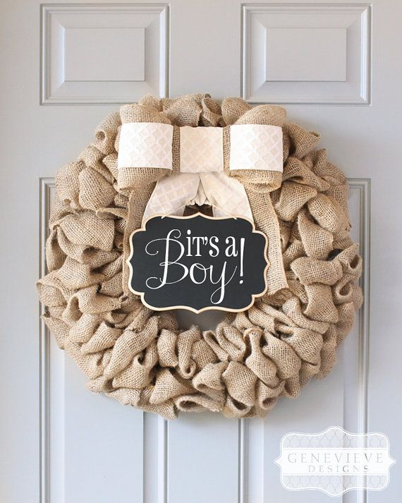 Original Genevieve Designs burlap wreath with chalkboard sign and interchangeable bow. This original design has been copied by many but will