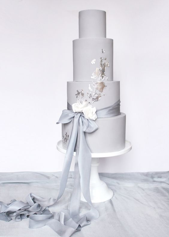 Repost...Dove grey and silver leaf wedding cake with silk ribbon Wildflower Cakes London www.wildflowercakes.co.uk