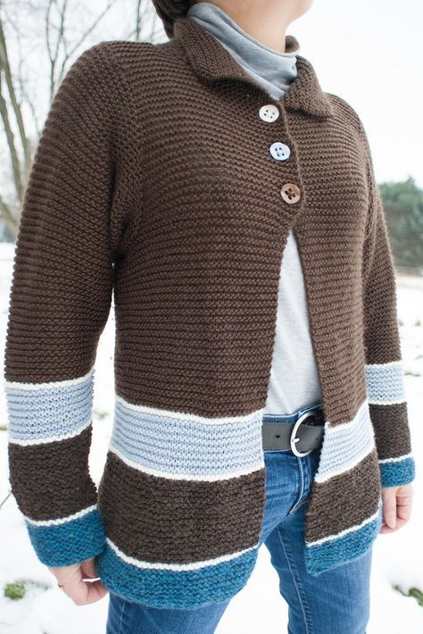 """Free Knitting Pattern for Sawtelle Cardigan - This easy sweater designed by Amanda Keep Williams made entirely of knit stitches (garter stitch) and the only seaming is at the shoulders. Bust 32 (36-40-44-48-52)"""" in Pictured project by schmidtknits"""