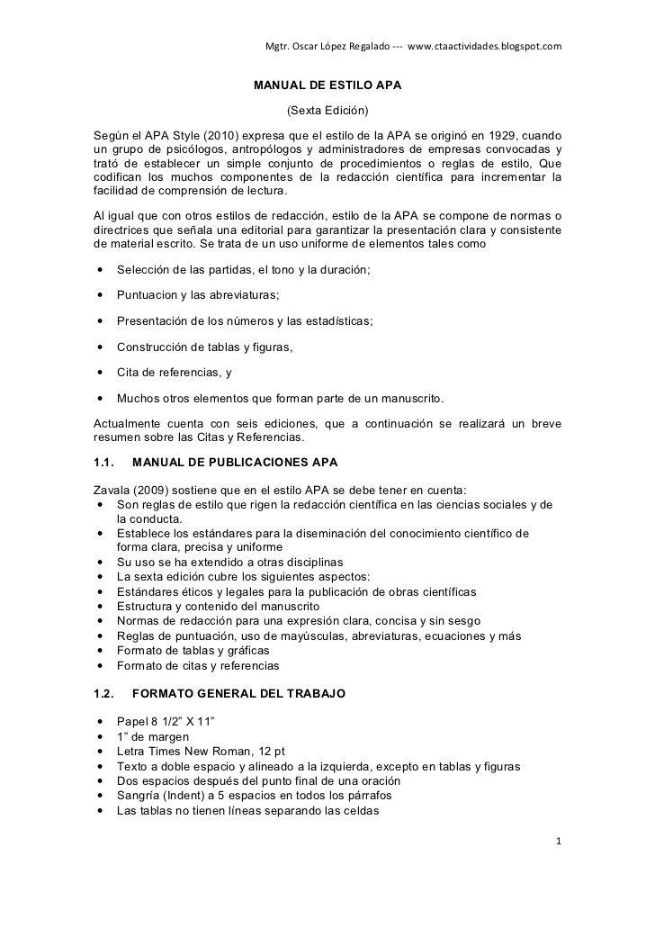 Mgtr. Oscar López Regalado --- www.ctaactividades.blogspot.com                                    MANUAL DE ESTILO APA    ...