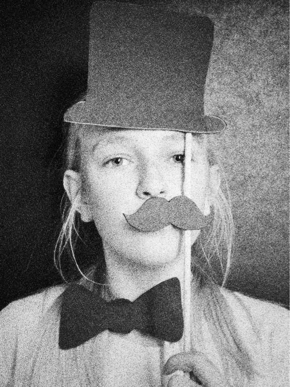 Hat, moustache and bowtie