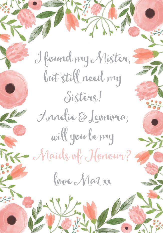 Maid of Honour Card - Watercolour Floral