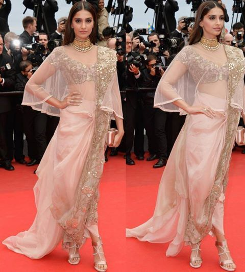 Sonam Kapoor in pale pink saree inspired Anamika Khanna Couture design at Cannes 2014   #SonamKapoor #Cannes2014