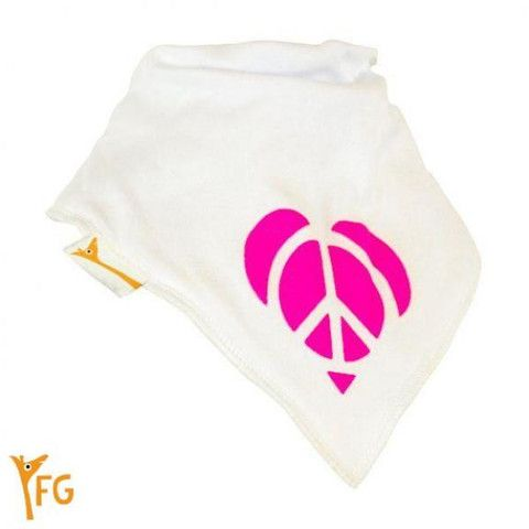 Baby Bandana Bib - White & Pink Peace Heart – Baby Luno
