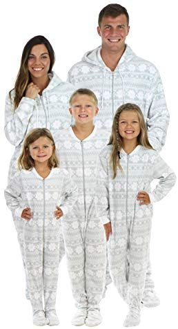 SleepytimePjs Family Matching Grey Snowflake Onesie PJs Footed Pajamas  Review 27f771250