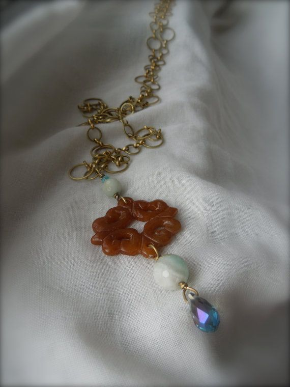 Carnelian Filigree/ Faceted Amazonite Long by StellaMargaritis, $45.00