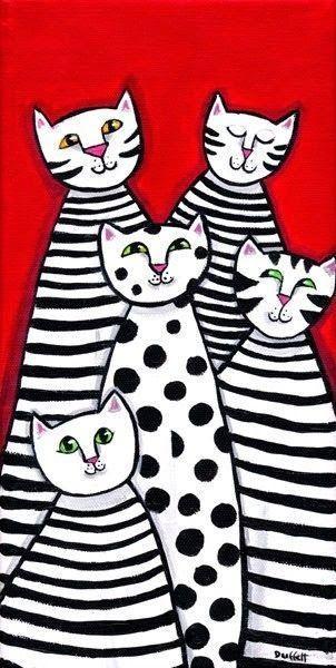 """Teacher In Wonderland: Katzen - Thema """"Überlappung"""" im Kunstunterricht"""