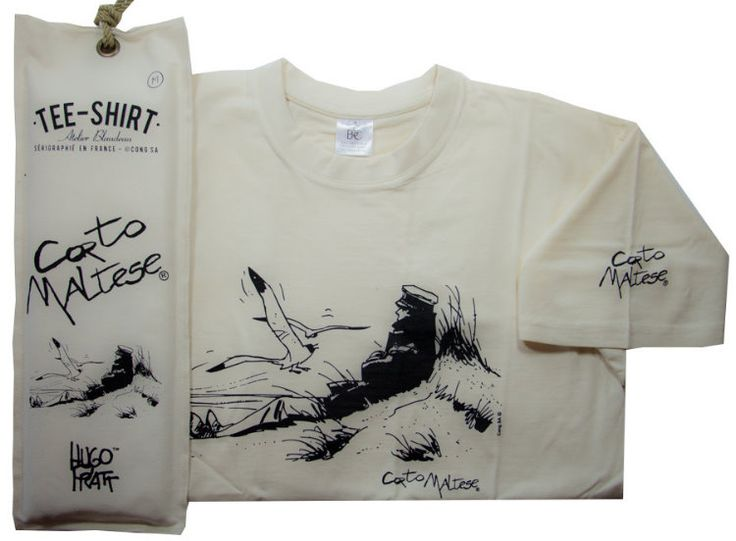 T-shirt Corto Maltese avec pochette : Marin sur la dune (Ecru)
