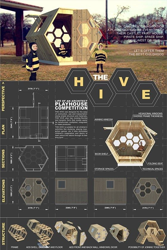 """Playhouses For Charity: How One Architect's Design Competition Raises Money For Neglected Children,""""Hive"""" Playhouse, Thanh Ho Phuong (2013). Image Courtesy of The Life of an Architect"""