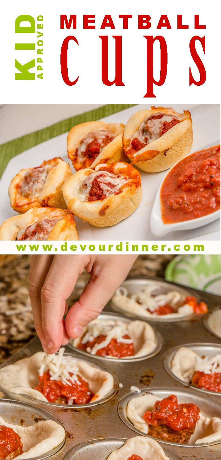 Meatball cups are a quick easy after school snack that even the little ones can help make.  Also perfect as an appetizer.  Made with 4 ingredients, Meatball cups are great for any time.  #DevourDinner #Meatball #Cheese #Appetizer #Snack #kidskorner #yummy #recipe #recipes #food #foods #foodblogger