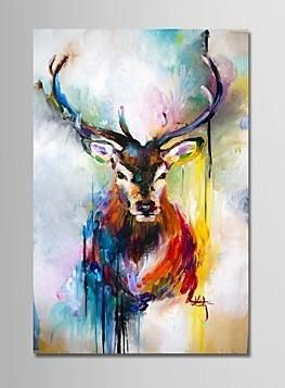 "Antlers 36""*24"" Hand-Painted Modern Oil Painting On Canvas Wall Art Picture For Home Decoration Ready To Hang"