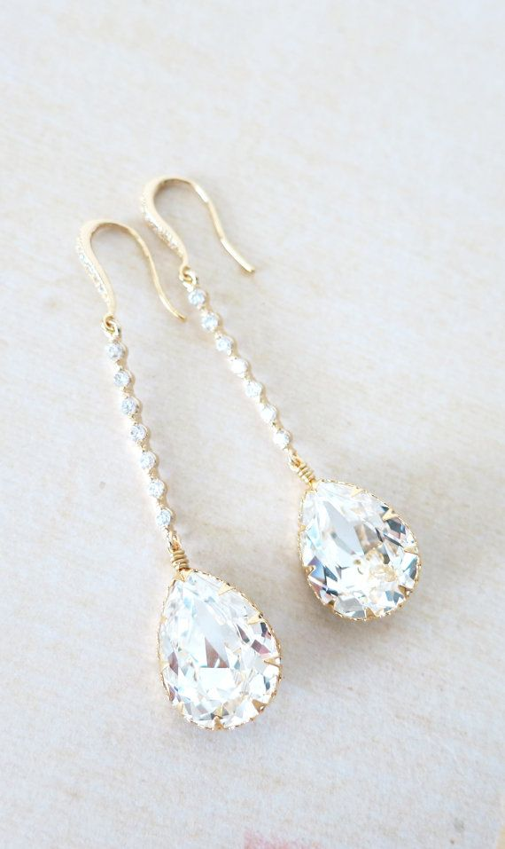Champagne Gold Wedding Earrings Bridesmaid Earrings Bridal Jewelry Wedding Clear Swarovski Crystal Tear Drops with Cubic Zirconia, by GlitzAndLove, www.glitzandlove.com