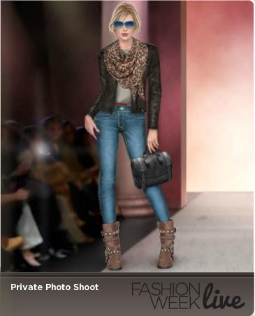 Today's Favorite Snap shot model is wearing:  --Medium crosshatch denim stretch jeans  -- strappy suede boots  -- Black leather biker jacket
