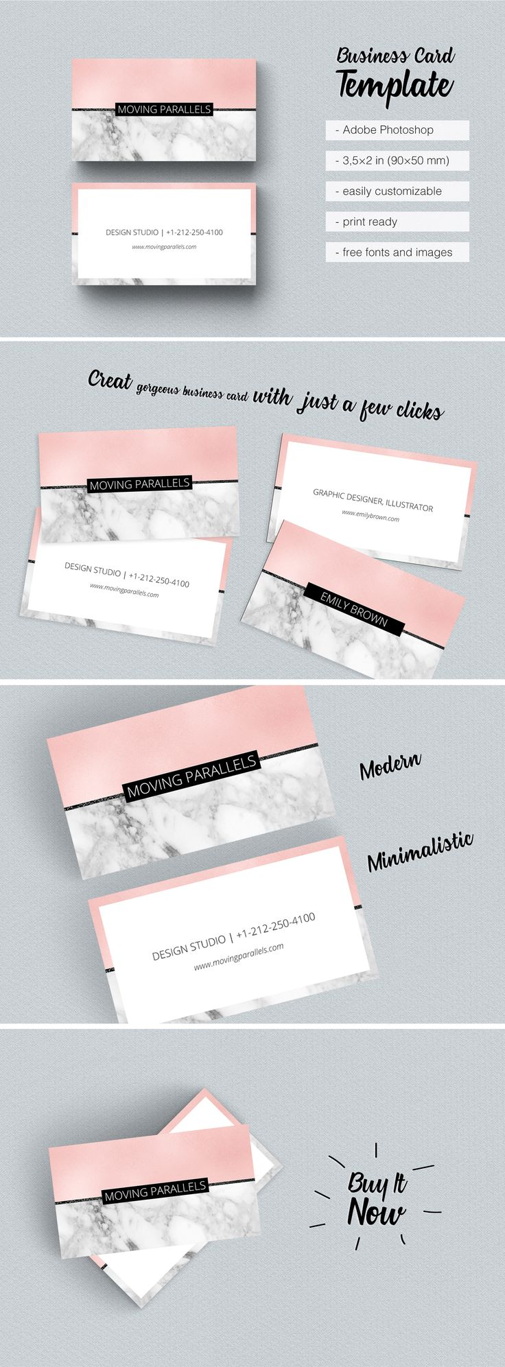 $8 Rose Gold White Black Marble Glitter Foil Horizontal Popular Business Card Template Classy, sophisticated and elegant, minimalist  visiting card, looks fresh and clean. Modern and clever design mixes several materials: rose metal puregold foil pattern, white and black marble and silver, copper, black glitter. Use it for corporate personal identity, name cards, professional office branding, marketing, calling cards, launches, events art, useful invites. For sale low price.