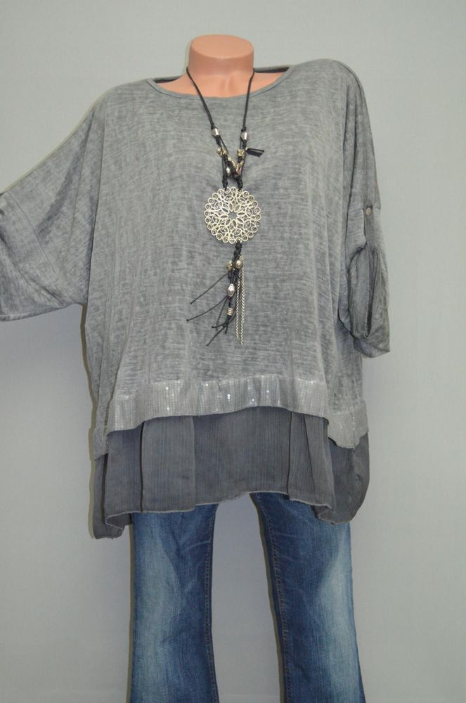 M/L/XL/XXL ITALY BOUTIQUE 2TLG LONG TUNIKA LAGENLOOK PULLOVER PAILLETTEN GRAU in Kleidung & Accessoires, Damenmode, Blusen, Tops & Shirts | eBay