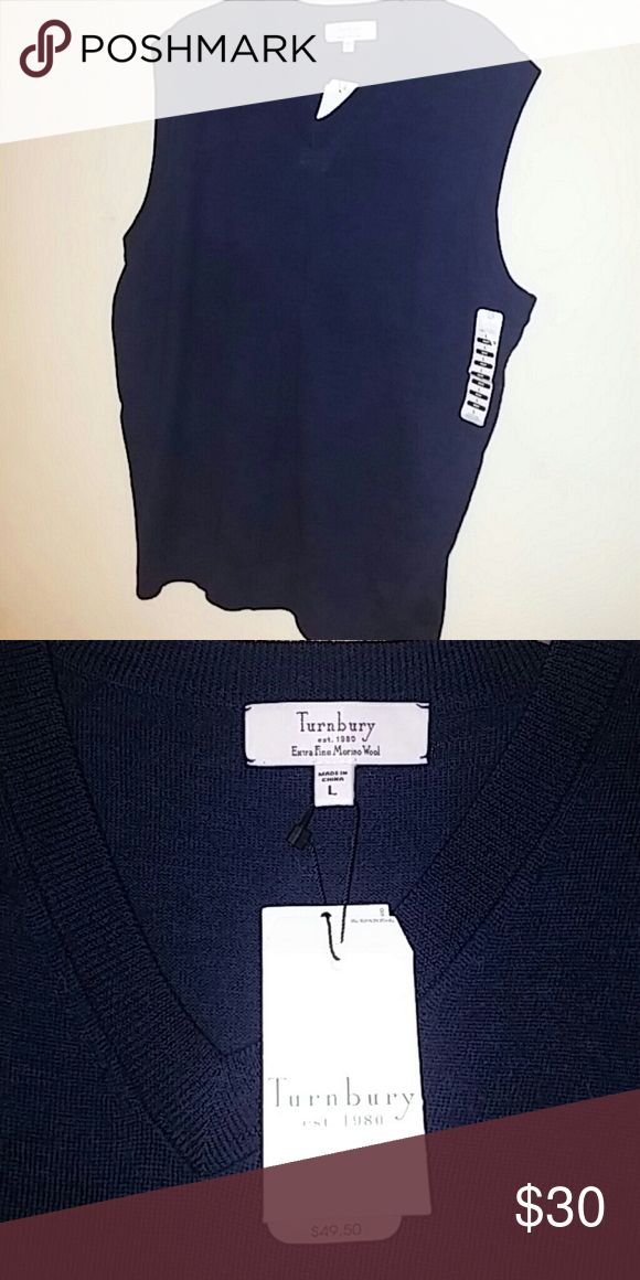 Turnbury mens v neck sweater vest This is a dark blue (would almost appear black unless in bright light) v neck mens sweater vest by turnbury. Brand new with tags 100% extra fine merino wool. turnbury Sweaters V-Neck