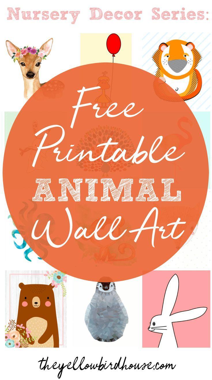 Nursery Decor Series: 57 Free Printable Animal Wall Art Pieces