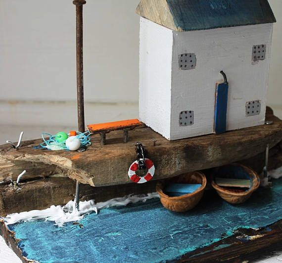 Handmade  Unique,Miniature Old fishermens houses Substructure: 21 x 10cm  * This item will be ship via DHL Express. It arrives to your address just in 3-5 business day