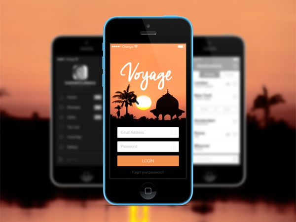 Login Screen - Voyage iOS7 app by Leonard Latescu, via Behance
