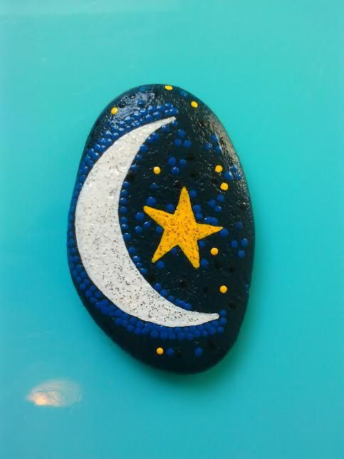 SALE! Painted Rock / To The Moon & Back / Montana River Stone / Glitter Collection