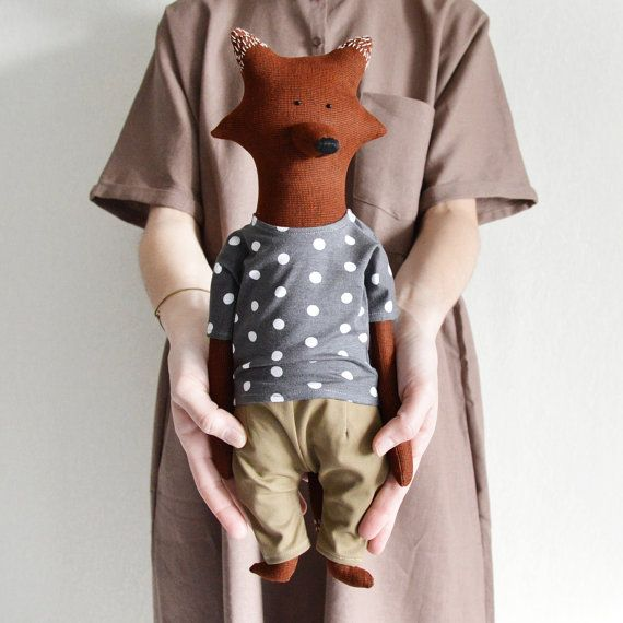 Wilmar The Fox. Primitive toy the Fox. Child friendly toys. Soft Fox - Best Friend for kids