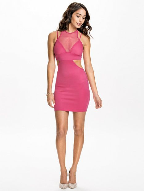 Straps & Cut Out Mesh Bodycon Dress - Club L - Hot Pink - Party Dresses - Clothing - Women - Nelly.com Uk