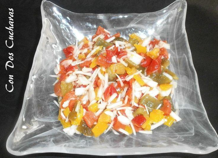 ConDosCucharas.com Ensalada multicolor de pimientos asados - ConDosCucharas.com