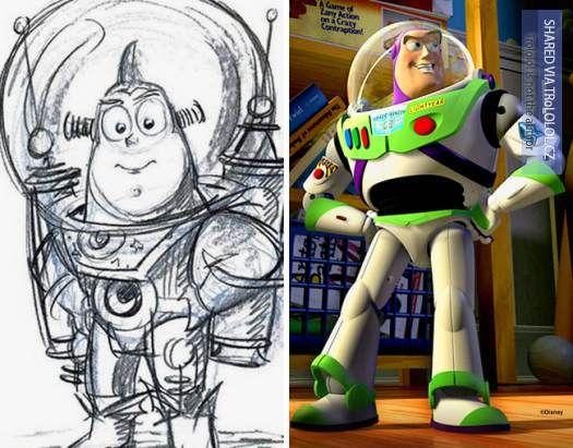 Původní kreslené návrhy Disney postaviček-Buzz Lightyear-Příběh hraček