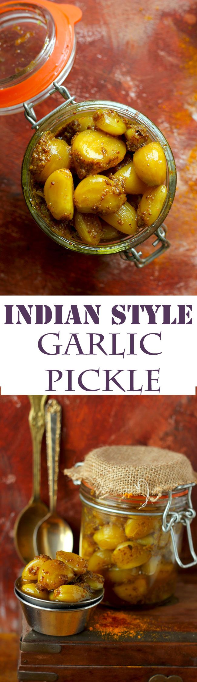 Have you ever thought of making a garlic pickle? It is one of those easy Indian recipes that are so uncomplicated to follow. funfoodfrolic.com #pickles #indianfood #garlic