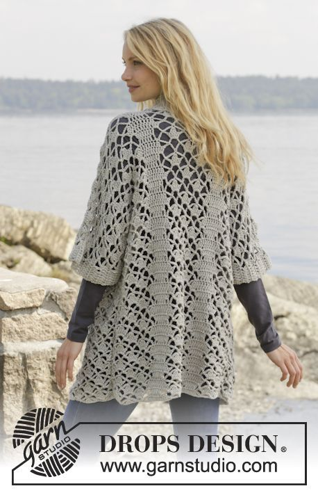 "Crochet DROPS jacket with lace pattern and shawl collar in ""Merino Extra Fine""…"